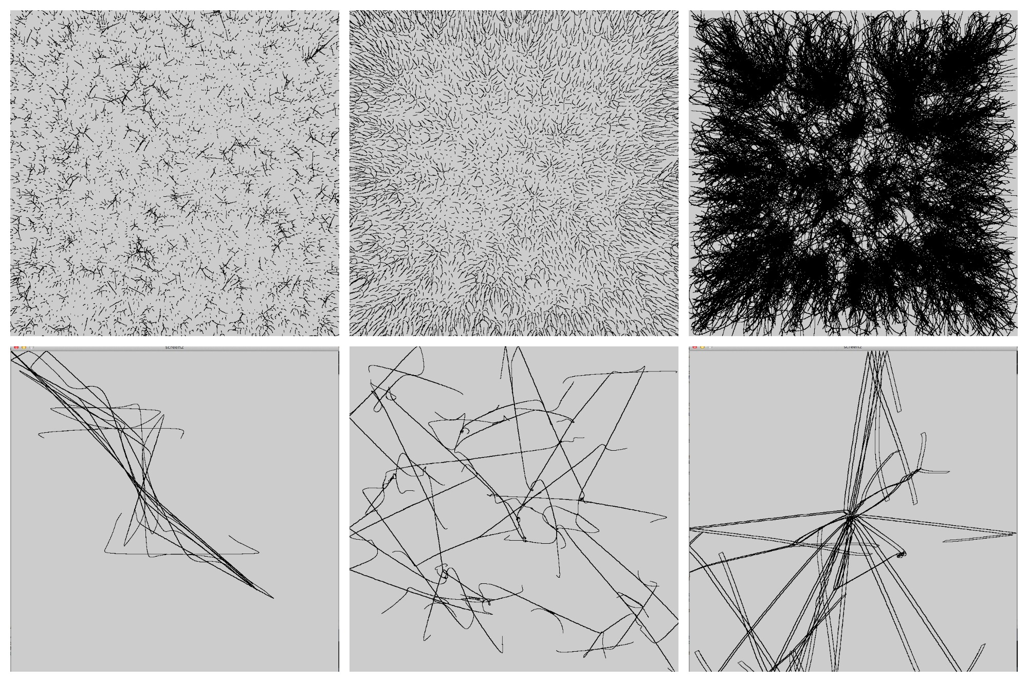 Things that happened while I played with the constants in my particle simulations.
