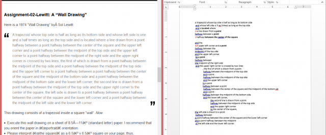 Original text versus my reformating