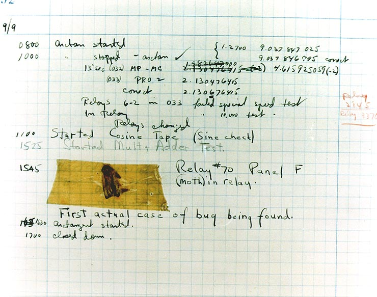 """The First """"Computer Bug"""". Moth found trapped in a Mark II Aiken Relay Calculator in 1947."""