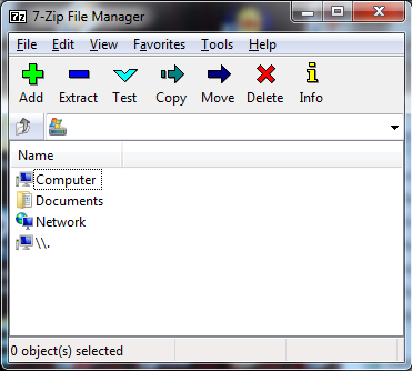 7-Zip starting screen.