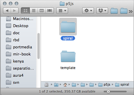 Finder window with project directory.