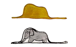 the little prince: drawing of an elephant inside a snake